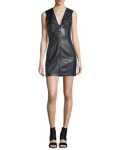 Faux-Leather Bustier Sleeveless Zip-Front Mini Dress