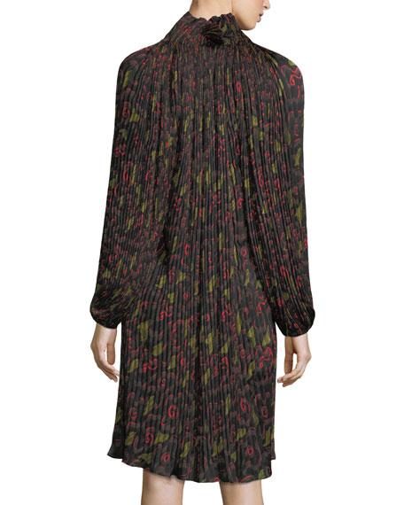 Pleated Floral-Print Split-Neck Dress