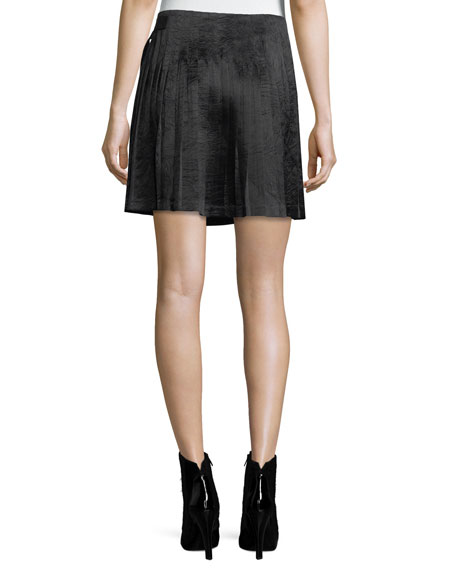 Pleated Satin Mini Skirt