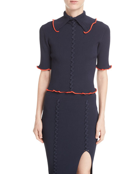 Collared Crisscross Short-Sleeve Rib-Knit Top