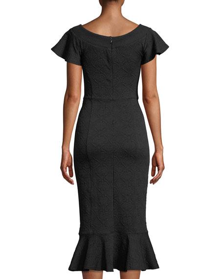 Lotus Off-the-Shoulder Jacquard Midi Dress