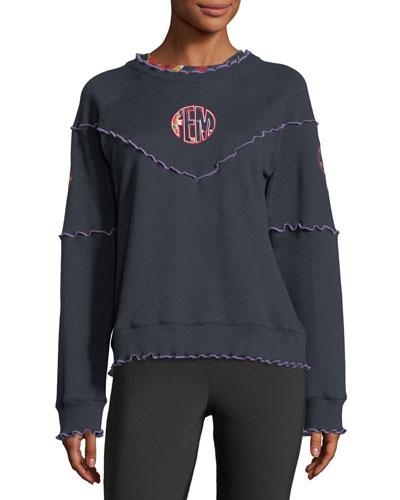 Lettuce-Edge Raglan Cotton Sweatshirt w/ Patches