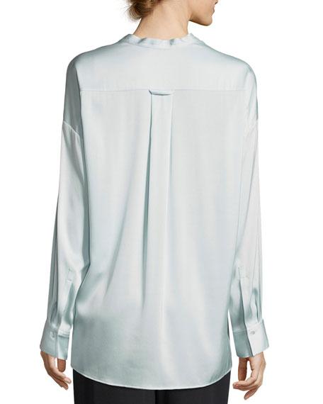 Trapunto V-Neck Button-Front Silk Blouse