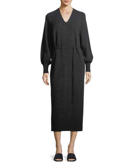Side-Slit V-Neck Wool-Cashmere Long Dress