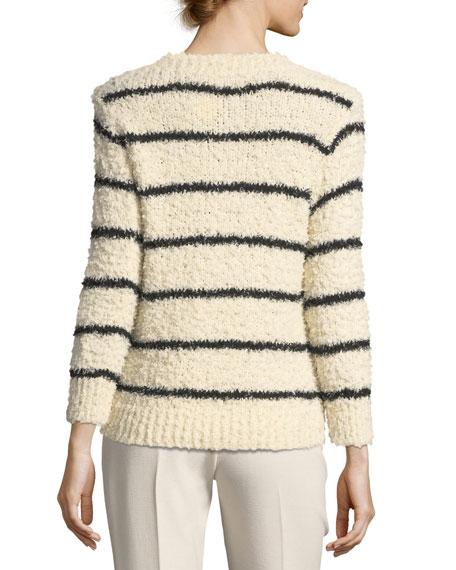 Fuzzy Striped Knit Crewneck Sweater