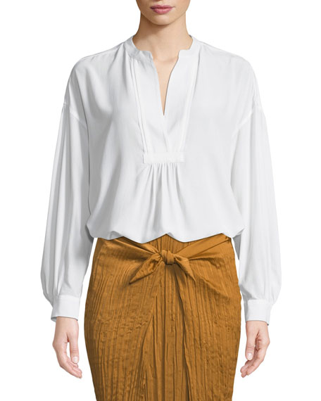 Shirred Drop-Shoulder Silk Blouse