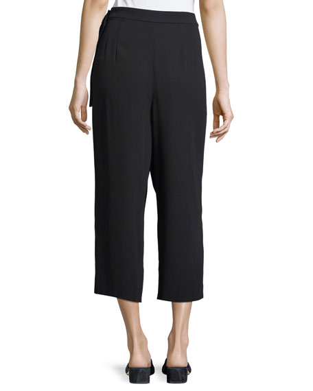 Belted Crepe Culotte Pants