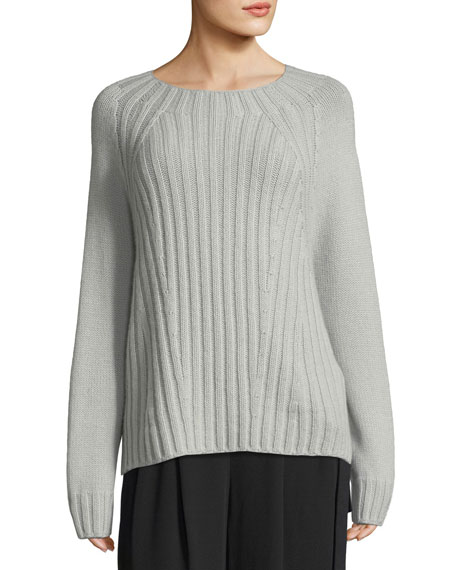 Raglan Ribbed Crewneck Wool-Cashmere Pullover Sweater