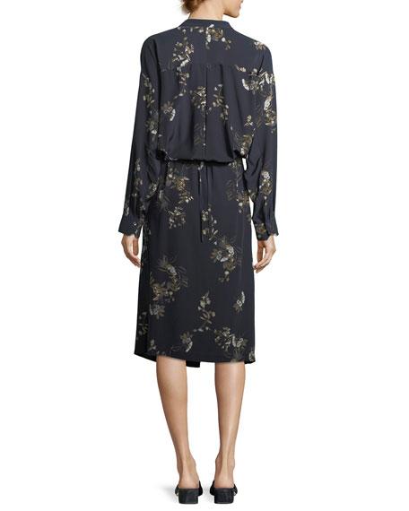 Spaced Floral-Print Tie-Waist Shirtdress