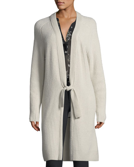 Tie-Front Ribbed Wool-Cashmere Cardigan