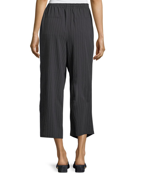 Pinstripe Drawstring Wide-Leg Crop Pants