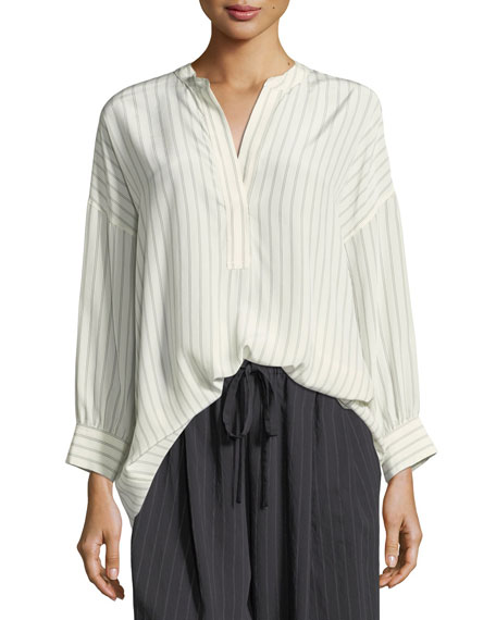 Double-Stripe Shirred Back Silk Blouse
