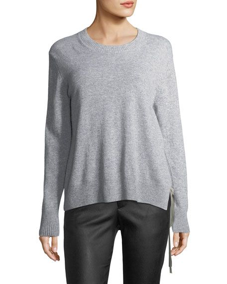 Side-Tie Crewneck Cashmere Sweater