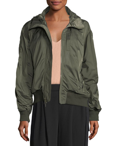 Hooded Zip-Front Bomber Jacket