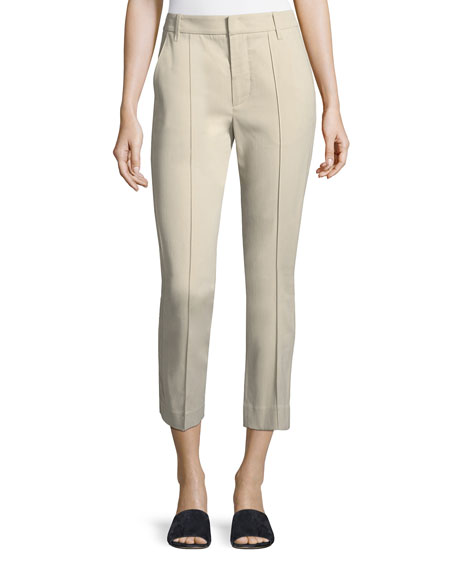 Stitch-Front Straight-Leg Cropped Pants