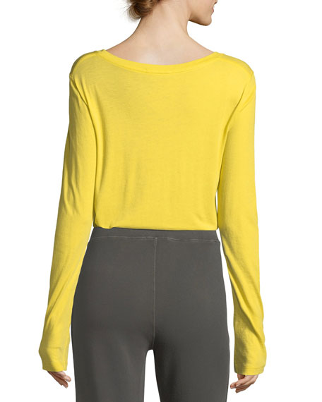 Crewneck Long-Sleeve Slub Pima Cotton Top