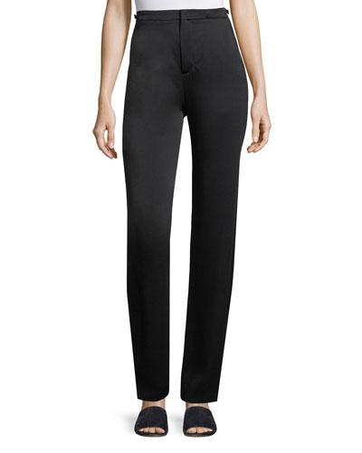 High-Waist Straight-Leg Satin Pants