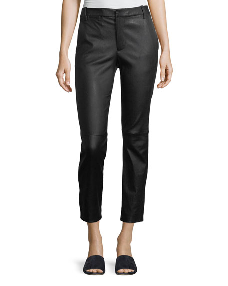Leather Coin-Pocket Straight-Leg Pants