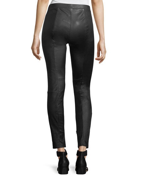 Leather Zip-Cuffs Ankle Leggings
