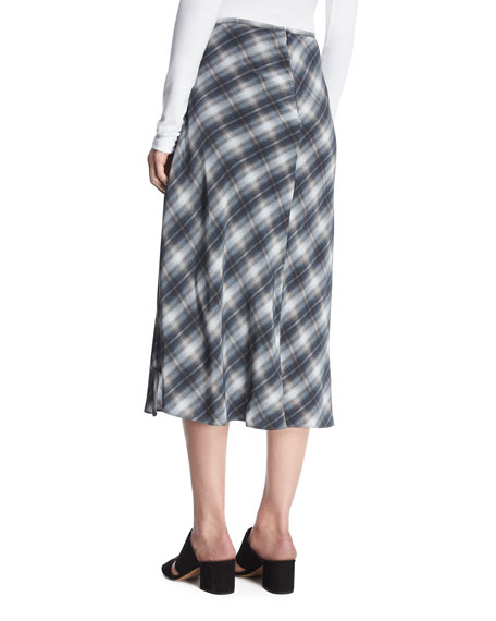 Shadow Plaid Side-Drape A-Line Midi Skirt