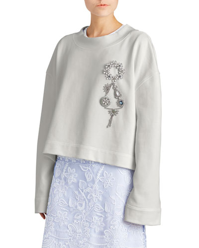 Embellished Loopback Cotton Sweatshirt