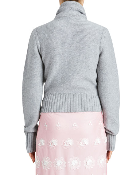 Twist-Front Cashmere Sweater, Gray