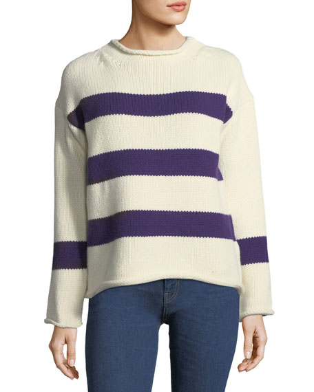 Yardley Striped Wool-Cashmere Sweater