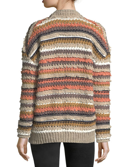Martello Striped Button-Front Cable-Knit Cardigan
