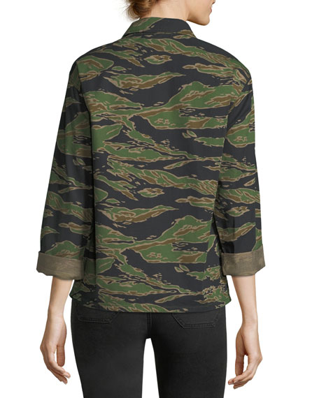 Tiger-Camo Button-Front Boxy Shirt