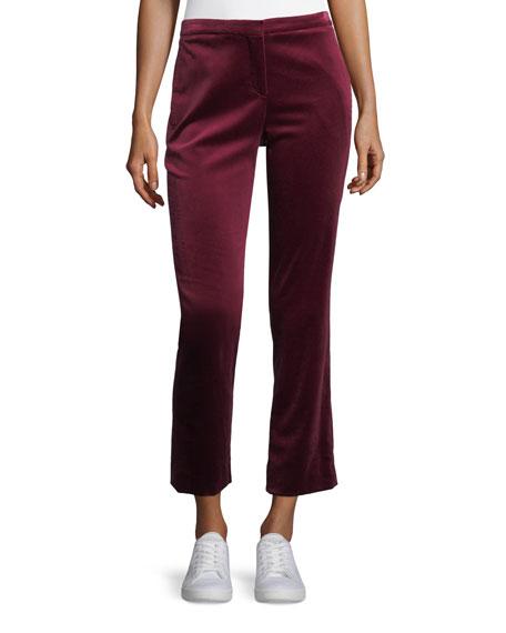 Stretch Velvet Cropped Straight-Leg Tux Pants