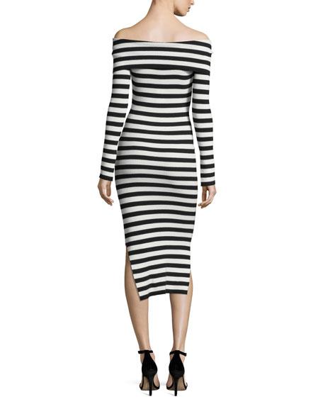 Long-Sleeve Off-Shoulder Rib Dress