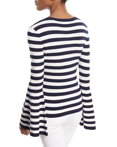 V-Neck Bell-Sleeve Pullover Top