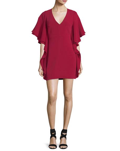 V-Neck Draped-Sleeve Mini Cocktail Dress