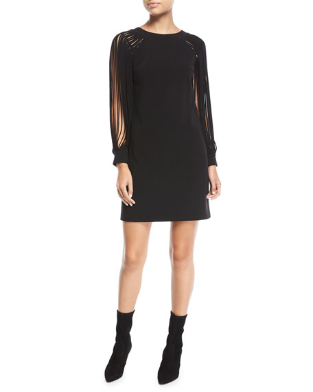 Slit Long-Sleeve Mini Dress
