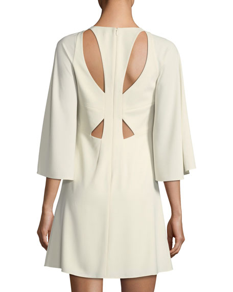 Bell-Sleeve Shift Cocktail Dress w/ Cutouts