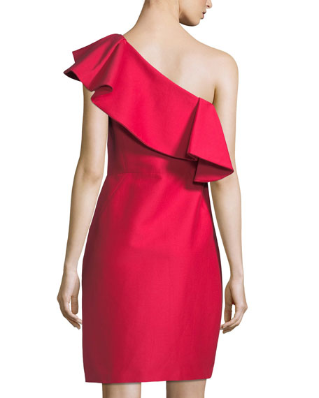 One-Shoulder Flounce Dress
