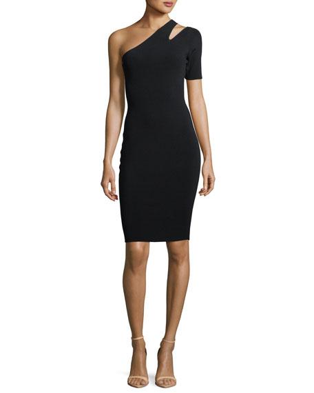 One-Shoulder Sliced Cocktail Dress