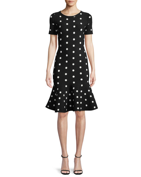 Short-Sleeve Polka-Dot Mermaid Dress