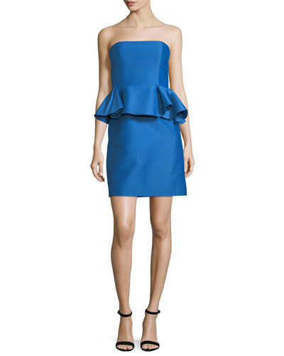 Strapless Straight Cocktail Dress w/ Peplum Waist