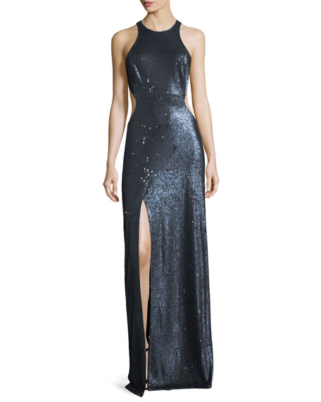 Cutout Sequin Column Gown