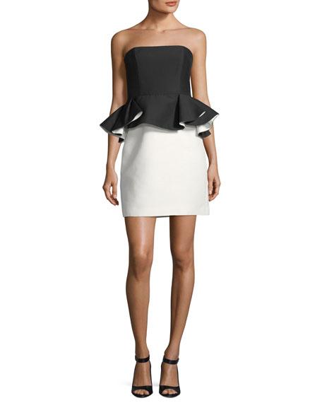 Strapless Mini Peplum Colorblock Dress