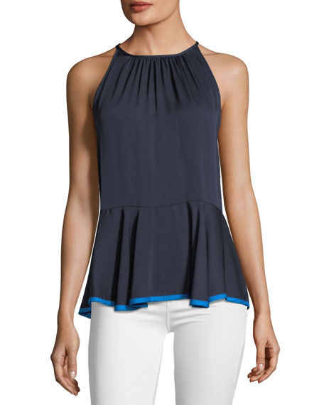 Holly Stretch Silk Top with Binding Detail