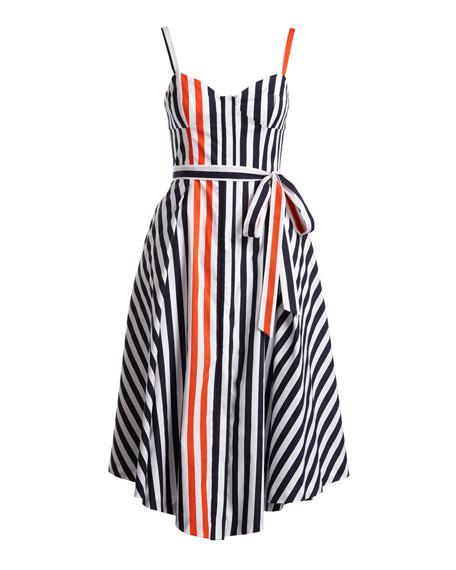 Cotton Poplin Bustier Midi Dress