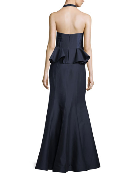 Sateen Peplum Halter Gown