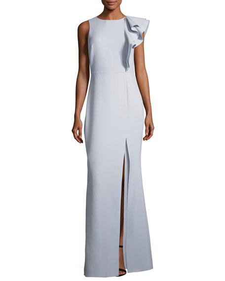 Asymmetric Flounce Ruffle Evening Gown
