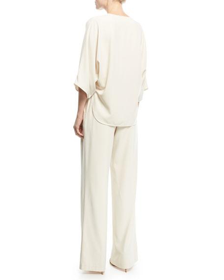 Wide-Leg Wrap-Front Jumpsuit w/ Tie Waist