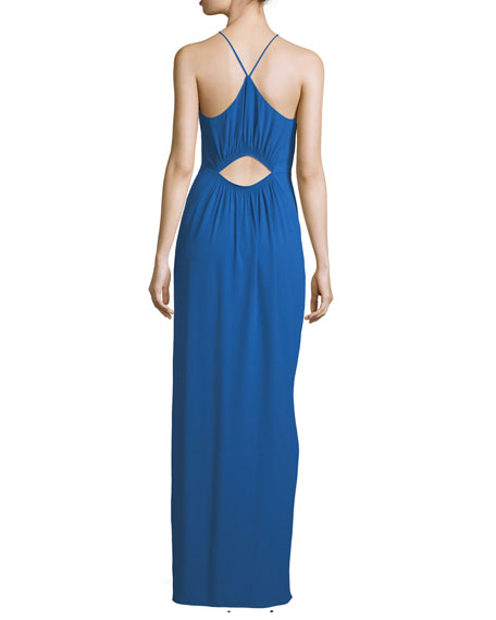 Cutout Evening Gown w/ Smocking Detail