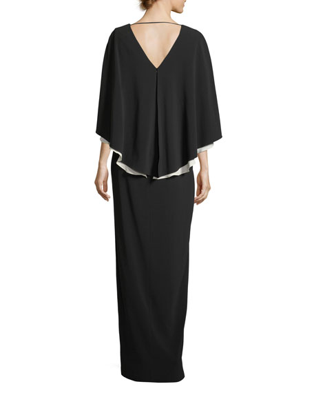 Colorblock V-Neck Cape Evening Gown