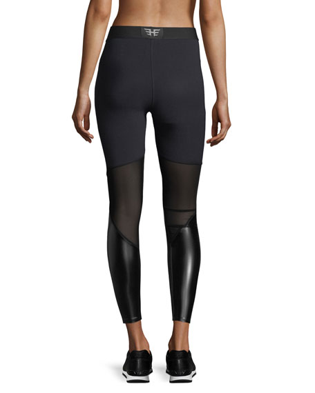3d7a81943e Heroine Sport Matrix Performance Leggings with Faux-Leather Panels