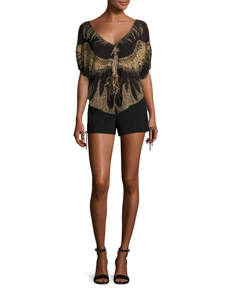 Earth Angel Deep-V Embellished Silk Blouse